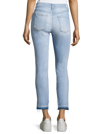 Roxanne Ankle Jeans W/ Asymmetrical Released Hem, Indigo