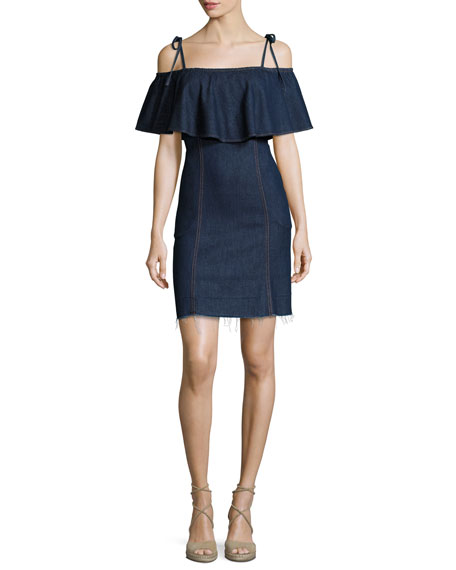 7 For All Mankind Off-the-Shoulder Denim Mini Dress,