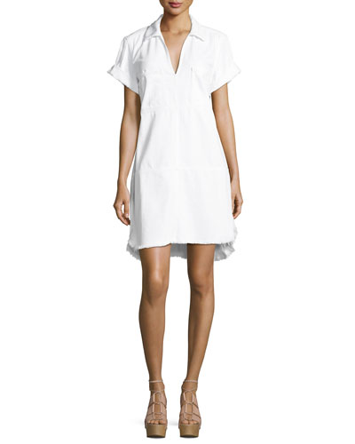 Short-Sleeve Denim Dress W/ Raw Hem, White