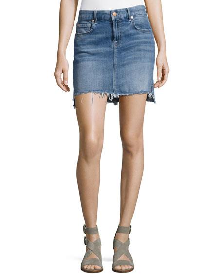 Pencil Denim Mini Skirt W/ Step Hem, Indigo