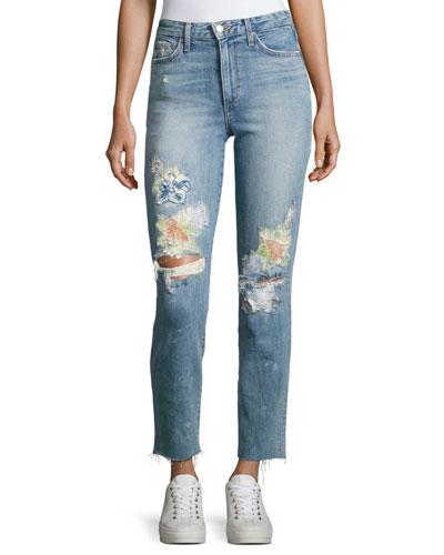 Debbie Crop Distressed Straight-Leg Jeans, Indigo