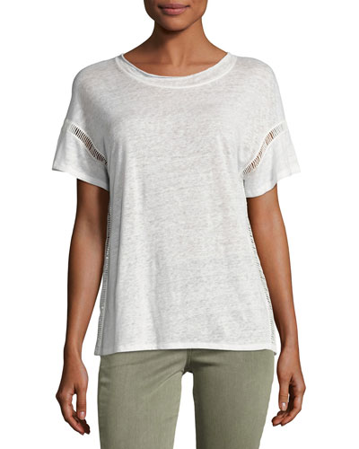 Arianna Short-Sleeve Linen Tee, White