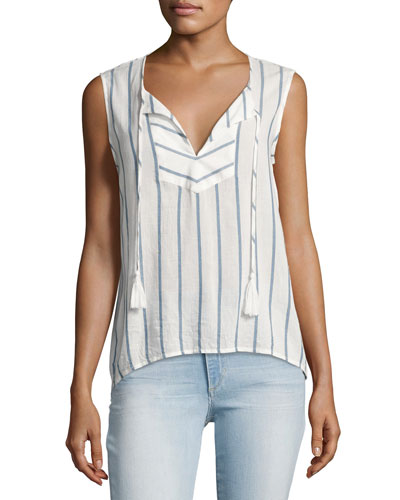 Kiera Striped Cotton Blouse, White