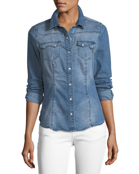 Etienne Marcel Giselle Snap-Front Collared Denim Shirt