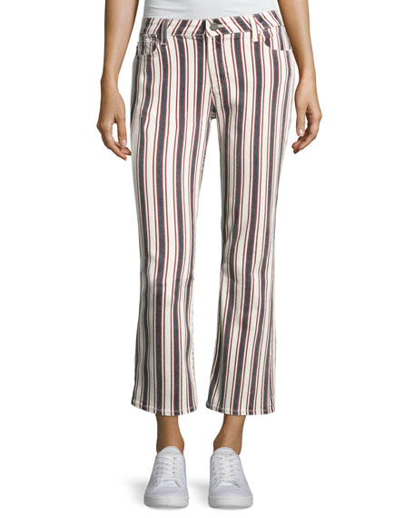 Jocelyn Striped Straight-Leg Jeans, Multi Pattern