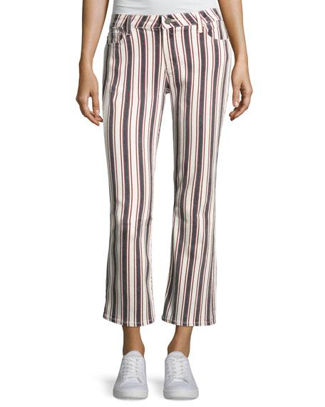 PAIGE Jocelyn Striped Straight-Leg Jeans, Multi Pattern