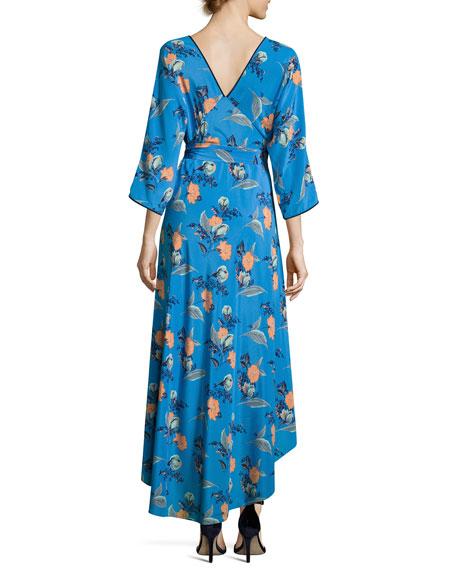 Long-Sleeve Asymmetric-Hem Silk Wrap Dress, Blue