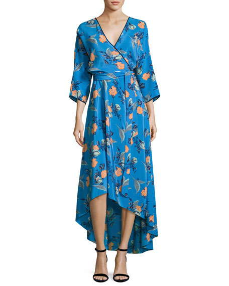 Diane von Furstenberg Long-Sleeve Asymmetric-Hem Silk Wrap Dress,