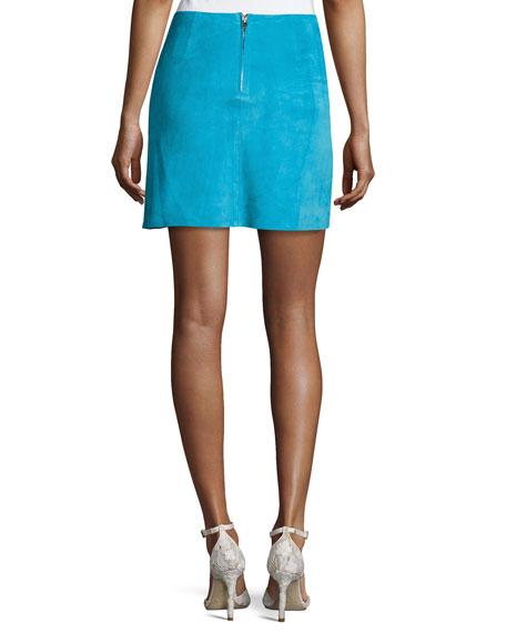 Jenny Lamb Suede Mini Skirt, Blue