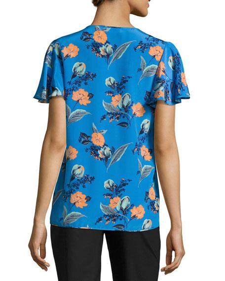 Flutter-Sleeve Pleated Silk Blouse, Blue