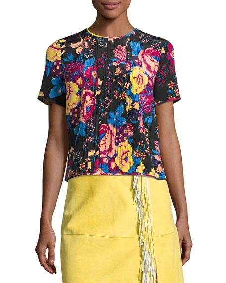 Diane von Furstenberg Floral-Print Tailored Silk T-Shirt, Black