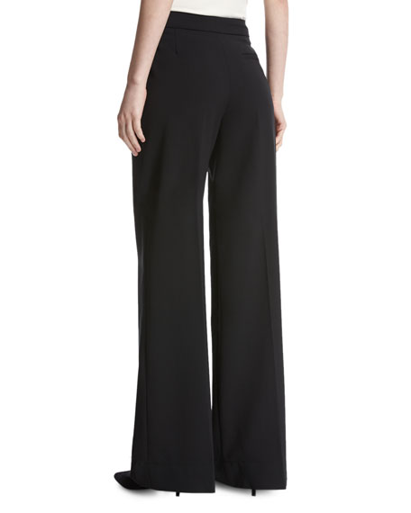 Wool-Blend Wide-Leg Trousers, Black