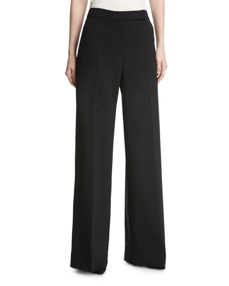 Fuzzi Wool-Blend Wide-Leg Trousers, Black