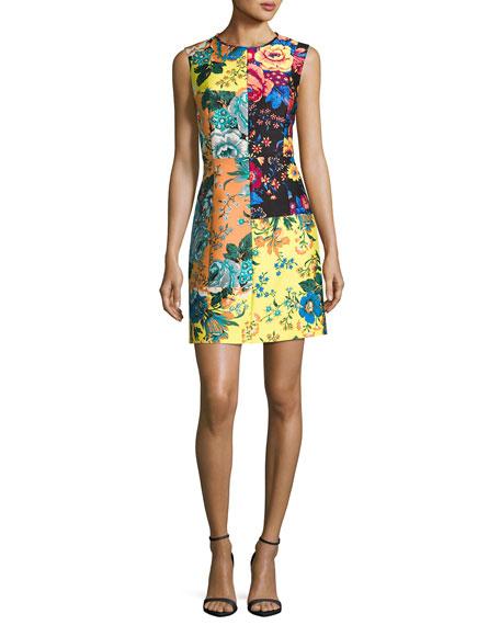 Sleeveless Tailored Paneled Shift Dress, Multiprint