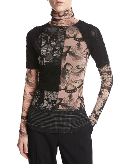 Long-Sleeve Butterfly-Print Turtleneck, Pink/Black