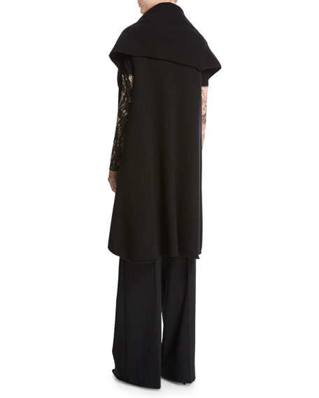 Funnel-Neck Long Cascading Wool Vest, Black