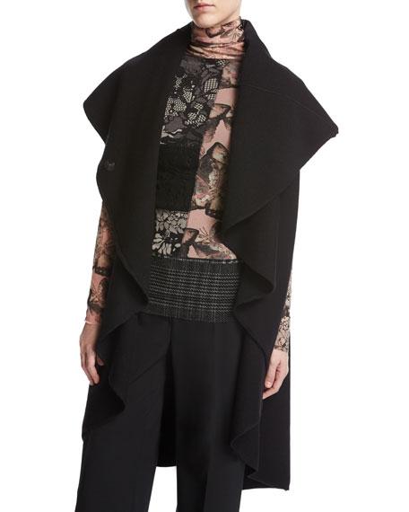 Fuzzi Funnel-Neck Long Cascading Wool Vest, Black