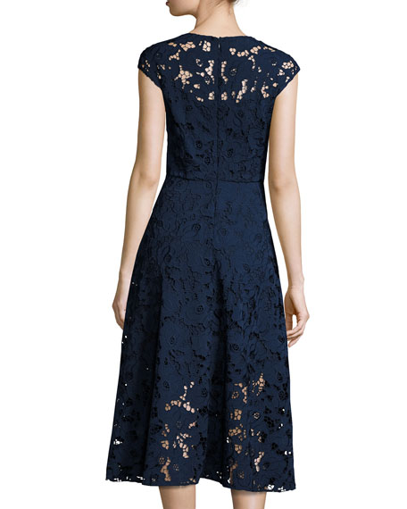 Cap-Sleeve Floral Lace Midi Dress, Blue