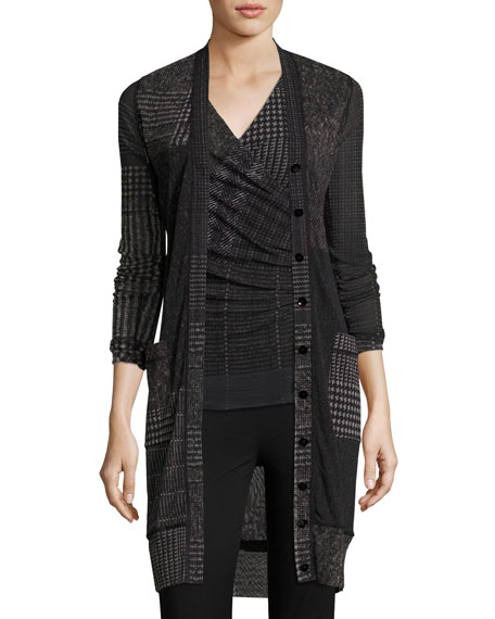 Long Check-Print Cardigan, Black