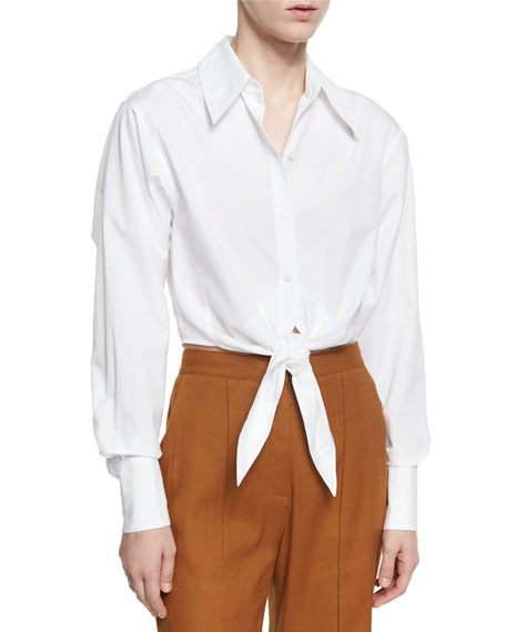 Diane von Furstenberg Collared Front-Tie Cotton Shirt, White