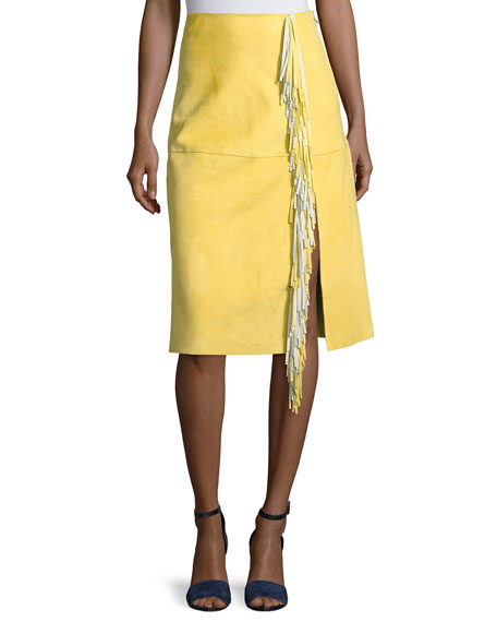 Side-Slit Fringe Suede Skirt, Yellow