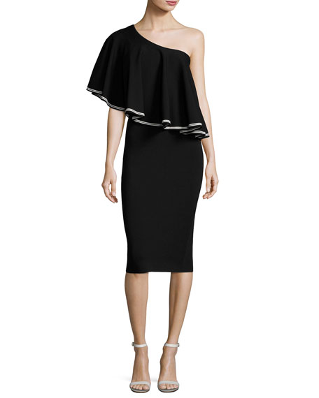 Diane von Furstenberg One-Shoulder Ruffle Front Midi Dress,