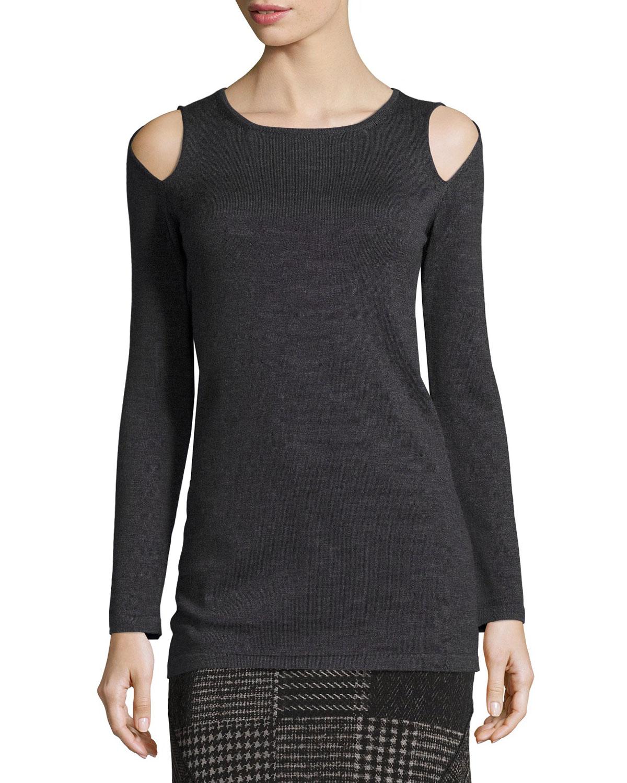 Fuzzi Cold-Shoulder Wool Sweater, Gray