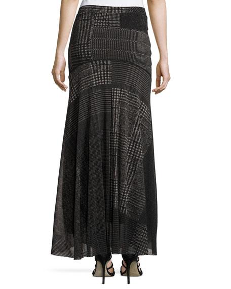 Check-Print Maxi Skirt, Black