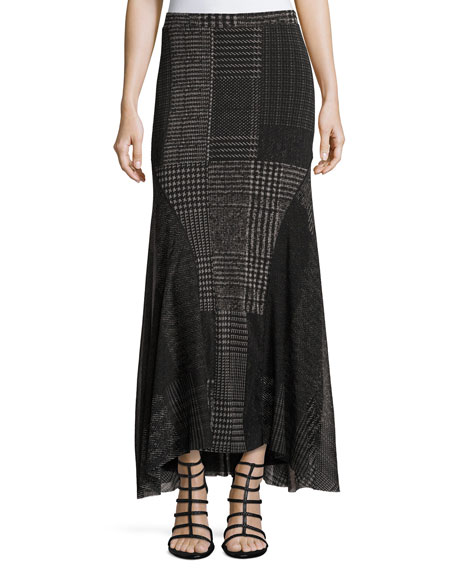 Fuzzi Check-Print Maxi Skirt, Black