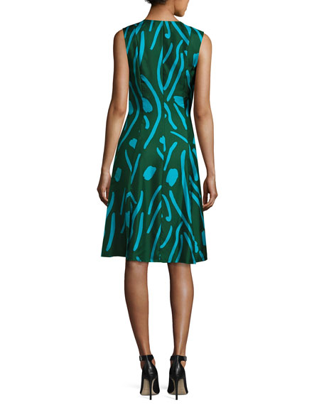 Sleeveless Side-Tie Flare Dress, Green Pattern