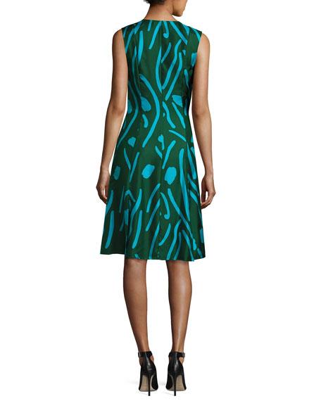Sleeveless Side-Tie Flare Dress, Green Pattern