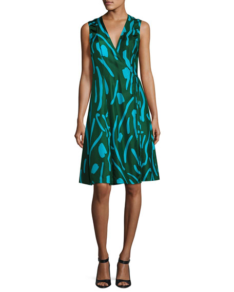 Diane von Furstenberg Sleeveless Side-Tie Flare Dress, Green