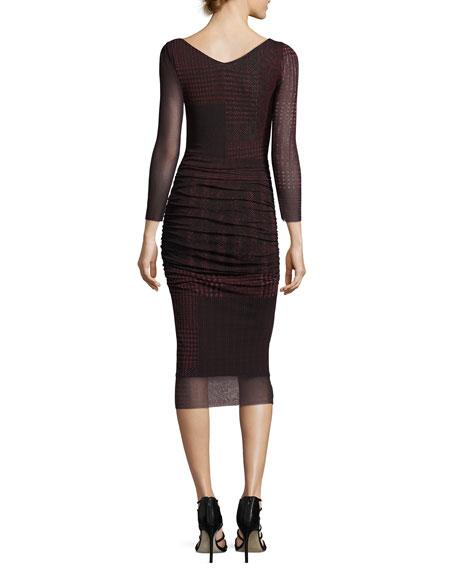 3/4-Sleeve Ruched Check-Print Midi Sheath Dress, Black/Red