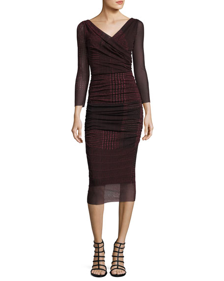 Fuzzi 3/4-Sleeve Ruched Check-Print Midi Sheath Dress, Black/Red