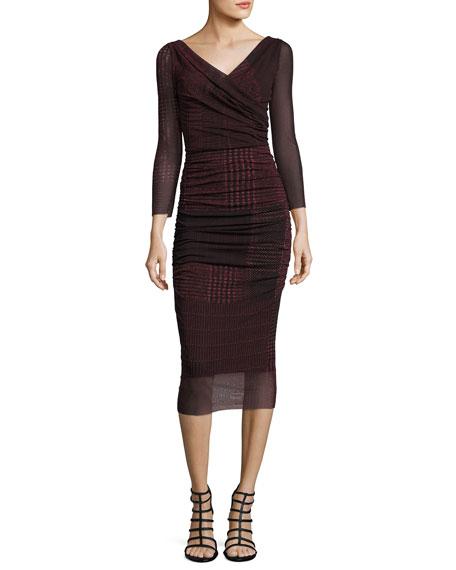 Fuzzi 3/4-Sleeve Ruched Check-Print Midi Sheath Dress, Black/Red