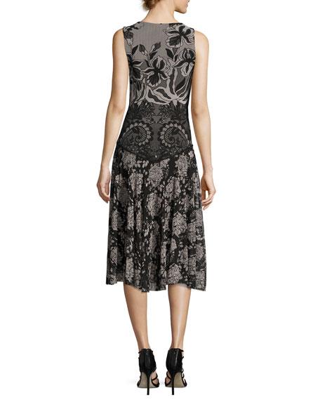 Sleeveless Floral Lace-Print Dress, Black Multi