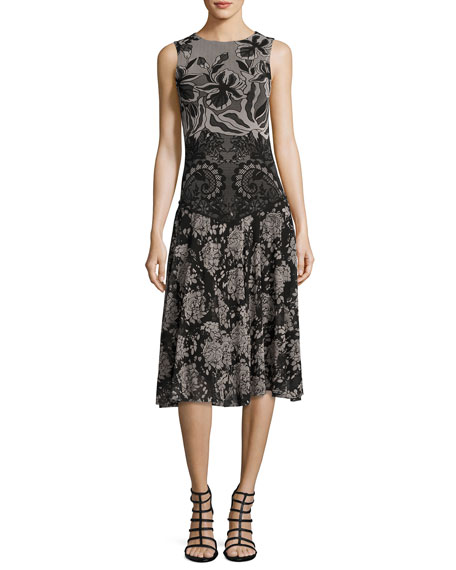 Fuzzi Sleeveless Floral Lace-Print Dress, Black Multi