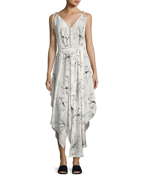 Diane von Furstenberg Sleeveless Scarf Hem Midi Dress,