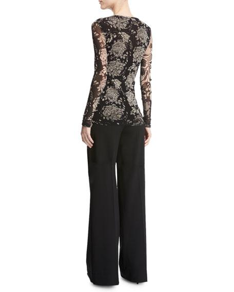 Long-Sleeve Floral Lace-Print Top, Black