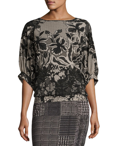 Fuzzi Dolman-Sleeve Floral Lace-Print Top, Black