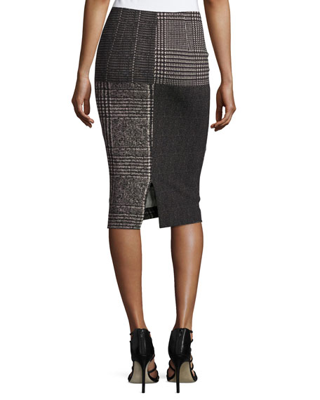 Check-Print Pencil Skirt, Black