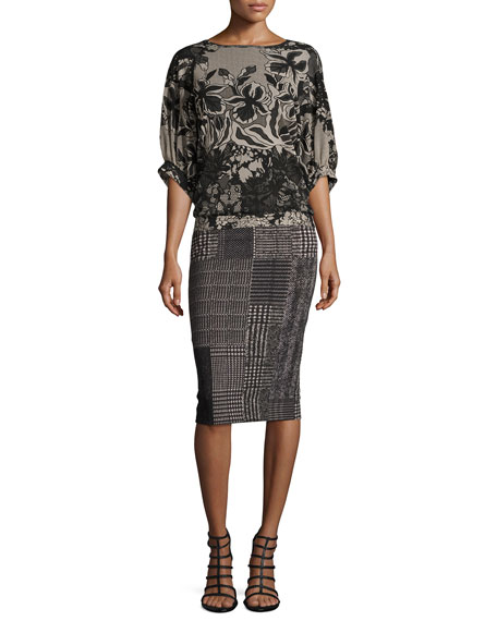 Check-Print Pencil Skirt, Black