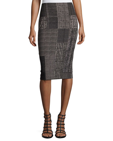 Fuzzi Check-Print Pencil Skirt, Black