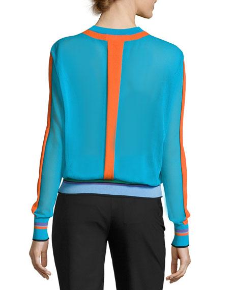 Long-Sleeve Crewneck Knit Pullover, Multi