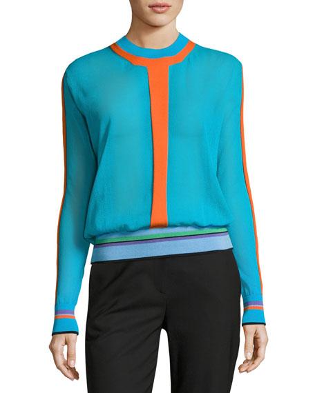 Diane von Furstenberg Long-Sleeve Crewneck Knit Pullover, Multi