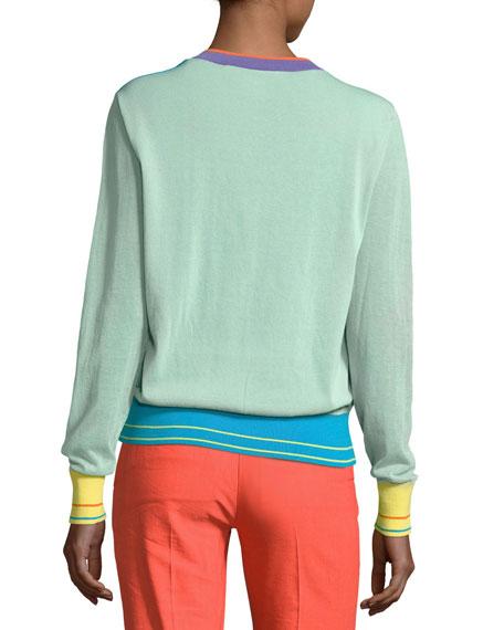 Long-Sleeve V-Neck Pullover Knit Top, Blue