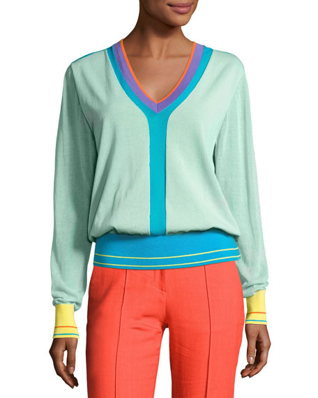 Diane von Furstenberg Long-Sleeve V-Neck Pullover Knit Top,