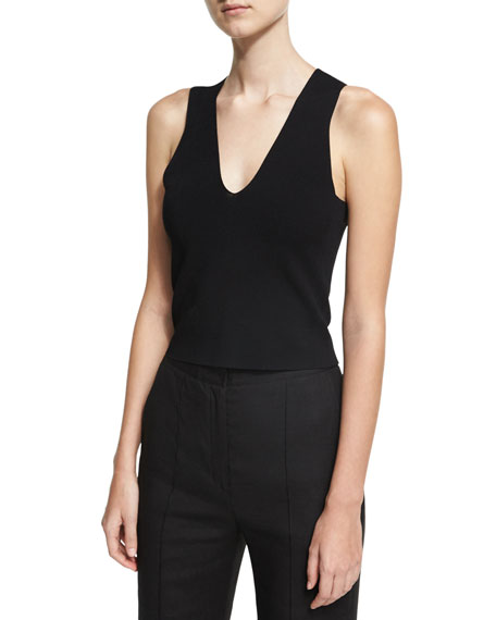 Diane von Furstenberg Sleeveless Paneled Knit Blouse, Black
