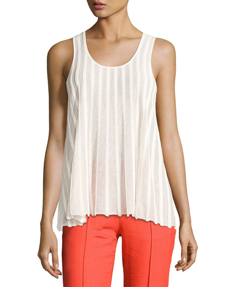 Diane von Furstenberg Sleeveless Ribbed Top, White