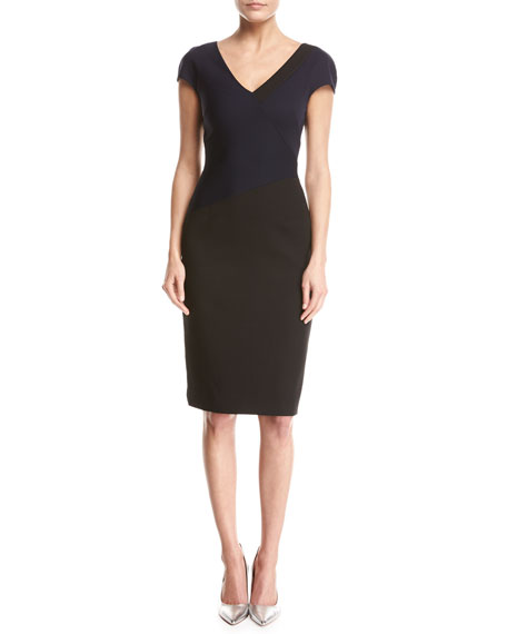 Diane von Furstenberg Banded Colorblocked Cap-Sleeve Dress, Blue